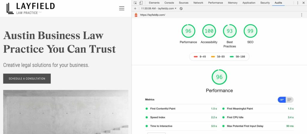 page speed performance results for layfield law website